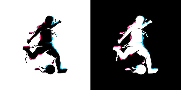 ボールプレーヤーのイラストデザインコンセプトを蹴る