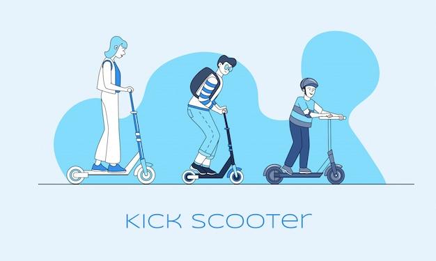 Kick скутер баннер. современный личный транспорт, город экологически чистых транспортных средств наброски концепции.
