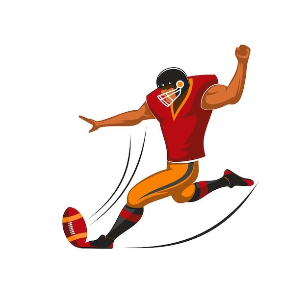 미식 축구 팀의 키커 선수, 벡터 스포츠 게임 디자인. 공, 헬멧, 저지, 바지, 어깨, 허벅지 패드가 있는 팀 유니폼을 입은 placekicker 만화 캐릭터