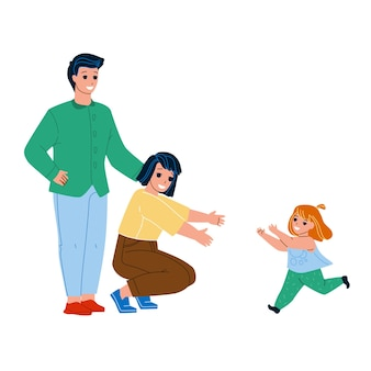 아이 입양 젊은 남자와 여자 부모 벡터입니다. 새로운 아버지와 어머니 딸 아이 입양, 엄마 품으로 달려가는 행복한 아이 소녀. 캐릭터 육아 및 육아 평면 만화 일러스트 레이션