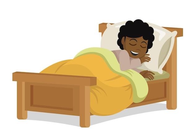 眠って笑っているキッドアフリカの女の子