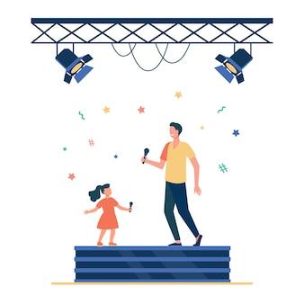 子供と大人の歌手のデュエット。有名人のお父さんと娘がステージフラットベクトルイラストで一緒に歌っています。パフォーマンス、ショー、子供時代