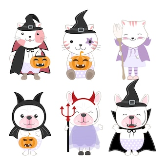 Kid animals cartoon halloween
