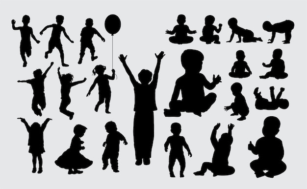 Kid and baby activity silhouette