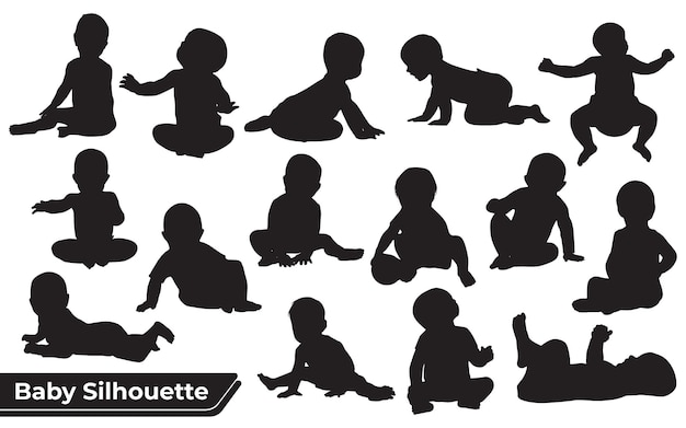 Kid and baby silhouette