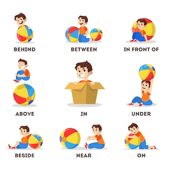 Kid and ball set. learning preposition concept. boy above