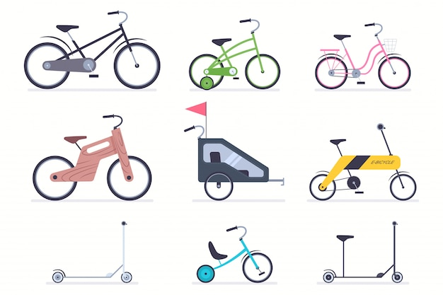 Kid bicycles, kick scooter, carts, electro and wood bike for boys and girls