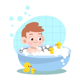 Kid boy bath wash illustration