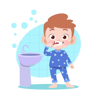 Kid boy brushing teeth vector illustration