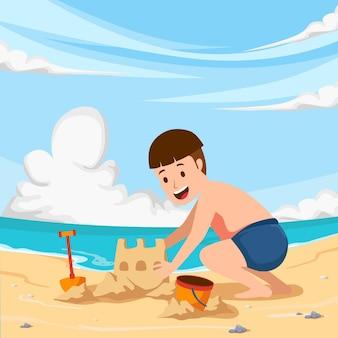Kid boy children play and fun at beach playing sand outdoor at summer vacation season