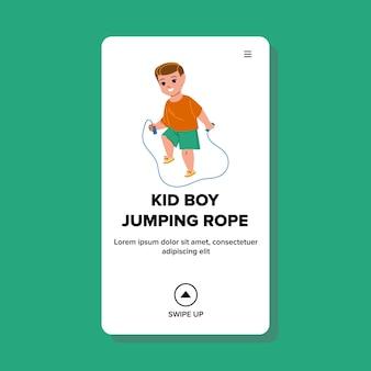 놀이터 벡터에 밧줄 운동을 점프 아이 소년. 작은 미취학 아동 점프 로프. 캐릭터 자손 선수 훈련 스포츠 휘트니스 활동 웹 플랫 만화 일러스트 레이션