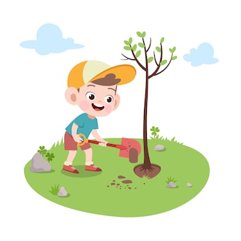 Kid boy planting tree illustration