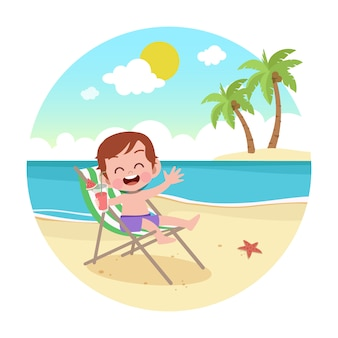 Kid boy playing on beach illustration