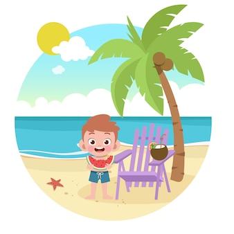 Kid boy playing on beach illustration