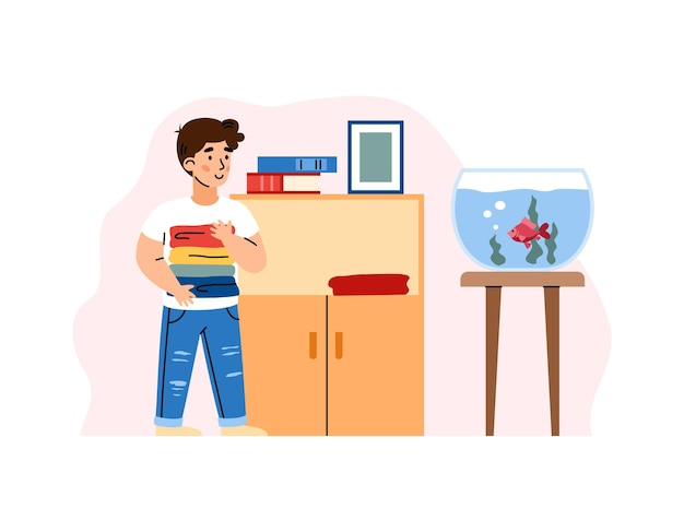 Kid boy putting folded clean clothes in dresser at his room a vector illustration