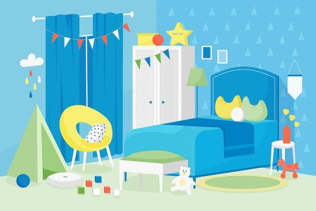 아이 소년 방 인테리어 그림. 침대, 창, 어린이 게임 및 코스모스 가구 장식 디자인 배경으로 집 아파트에서 만화 평면 현대 빈 파란색 어린이 침실