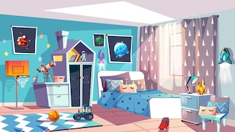 Kid boy room interior illustration of modern bedroom furniture in blue Scandinavian style.