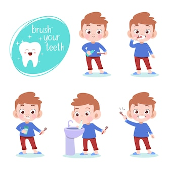 Kid brushing teeth vector illustration isolated