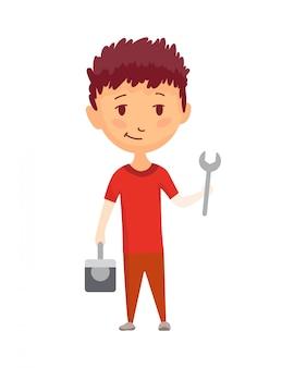 子供のビルダー。少し労働者。ツールボックスとレンチを持つ子供、仕事を作る