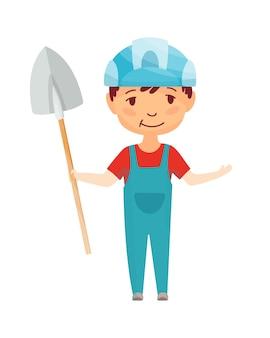 아이 빌더. 헬멧에 작은 노동자. 작업을 만드는 건설 삽을 가진 아이들.