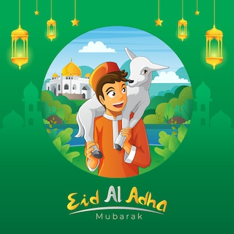 A kid carrying his goat for eid al adha greeting card