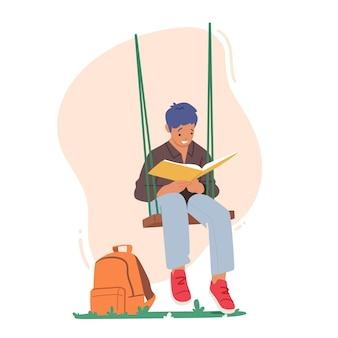 Персонаж ребенка читает интересную книгу, сидя на качелях, висящих на дереве