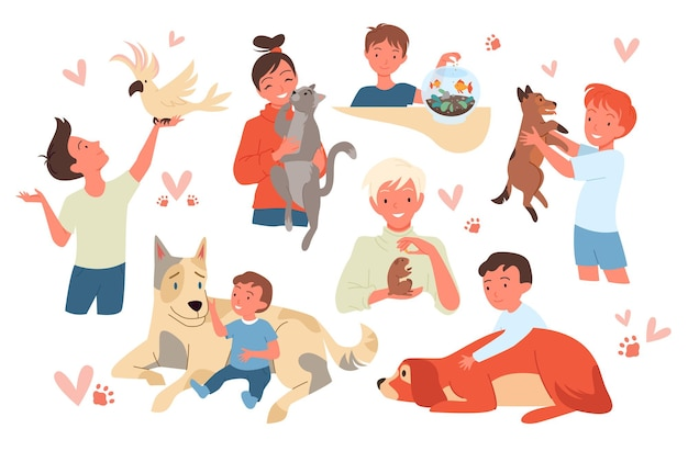 Kid characters holding cute hamster and parrot girl boy child pet owner standing sitting with cat