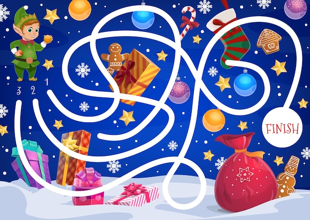 Детский рождественский лабиринт с эльфами, подарками и сладостями. мешочек дедов морозов, сказочный персонаж-помощник и упакованные подарки, имбирное печенье, конфета и рождественский чулок, мультяшные снежинки