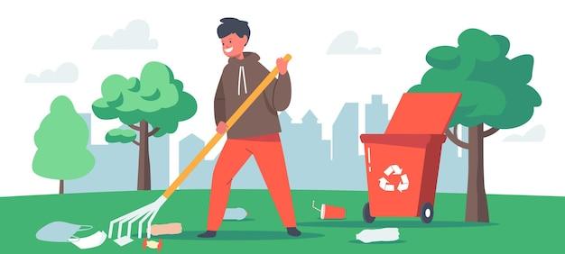 子供の掃除の庭、自然のゴミの汚染、生態保護の概念。公園の少年ボランティアキャラクターがゴミ箱をリサイクルゴミ箱に集めています。漫画のベクトル図