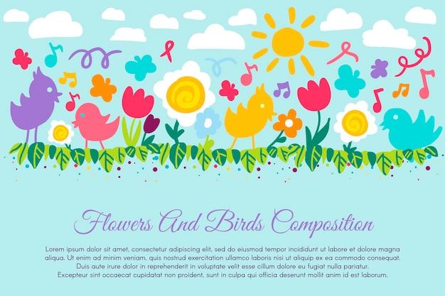 Детские цветные цветы и птицы векторные иллюстрации. симпатичная красочная летняя картина с цветочной композицией, бабочкой, небом и солнцем. красивые дети дизайн баннера для печати. плоский мультяшный рисунок