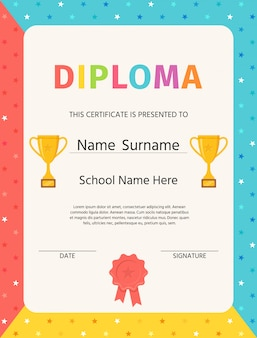 Kid diploma. certificate background. . winner blank. preschool, kindergarten, school template graduation backdrop with trophy cups and award stamp ribbon. layout . cartoon illustration.