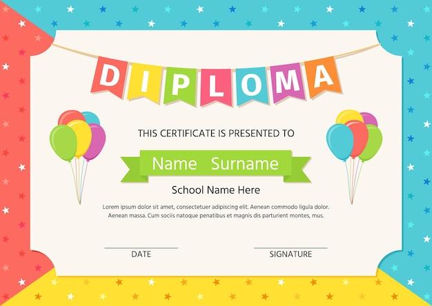 Детский диплом, аттестат. векторная иллюстрация. милый дошкольный дизайн.