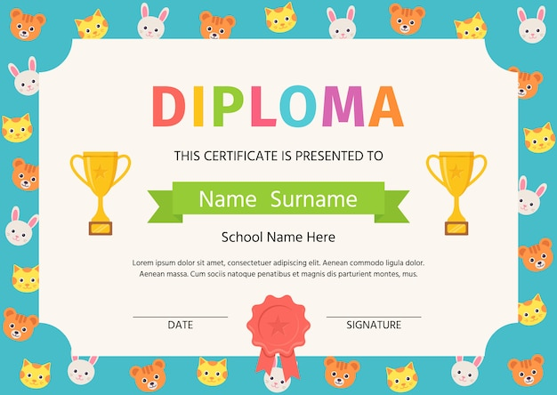 Kid diploma, school certificate