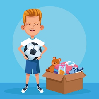 Kid donation charity cartoon