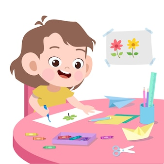 Kid drawing vector illustration isolated