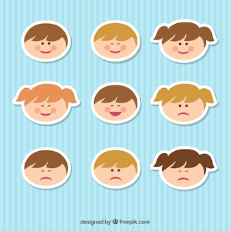 Kid faces Free Vector