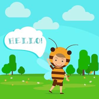 Kid in fancy bee dress