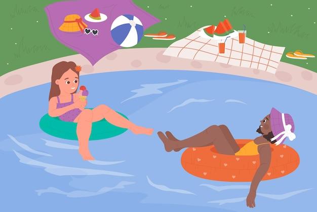아이 친구는 풍선 반지에 떠있는 수영장 여름 활동 소녀를 즐길 수
