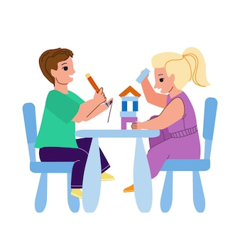 On kid furniture play little boy and girl vector. children playing with construction on kid furniture in kindergarten. characters brother and sister creative time flat cartoon illustration