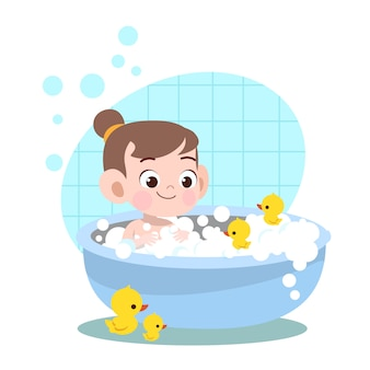 Kid girl bath wash illustration