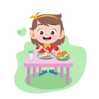 Kid girl eat illustration