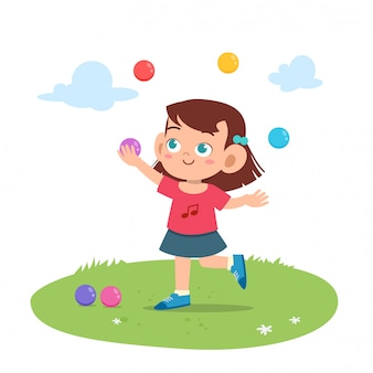 Kid girl juggling balls