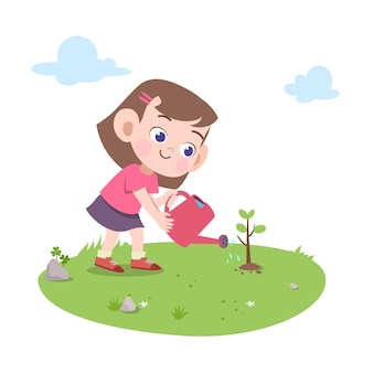 Kid girl planting tree illustration