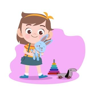 Kid girl play doll illustration