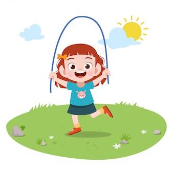Kid girl play rope