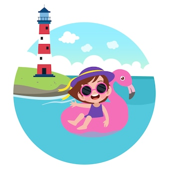 Kid girl playing on the beach illustration