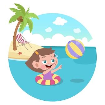 해변 그림에서 노는 아이 소녀