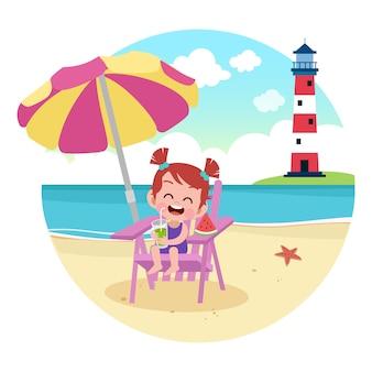 Девушка малыша играя на иллюстрации пляжа