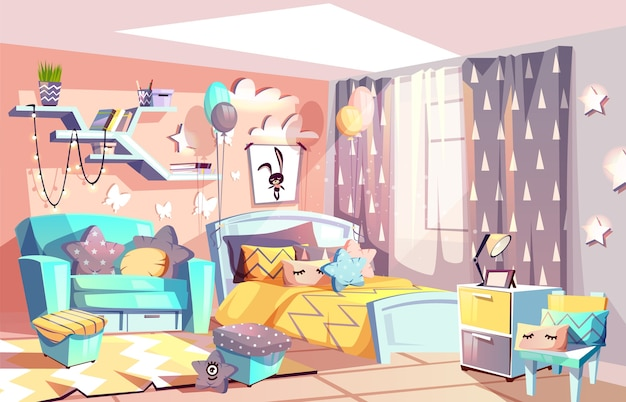 Kid girl room or bedroom interior illustration of modern cozy scandinavian furniture style.