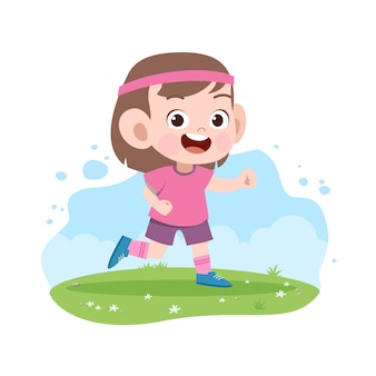 Kid girl run illustration